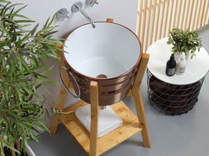 BACILE WASHBASIN cm.Ø46,5 H30 WITH RINGS COPPER