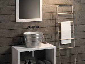 BACILE WASHBASIN cm.Ø46,5 H30 WITH RINGS SILVER