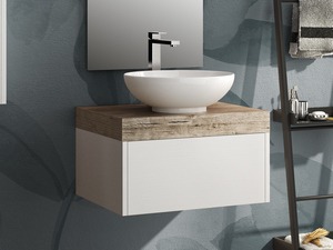 TOPSY BATHROOM FURNITURE WHITE WITH TOP NATURAL OAK