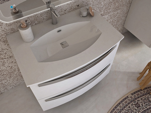 BATHROOM FURNITURE CORALLO 100 CM 2 DRAWER WHITE WITH RESIN UNITOP WASHBASIN