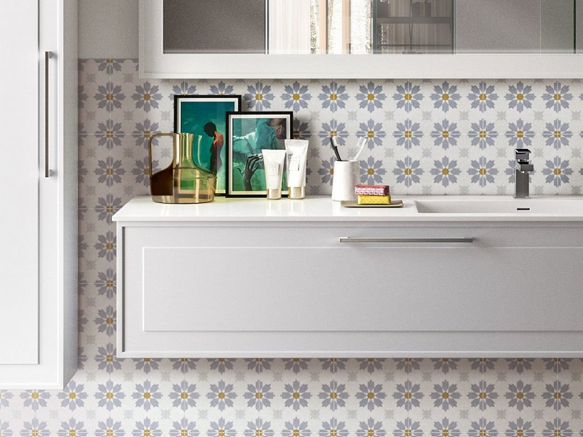 Cementina Effect Kitchen Wall Tile - Bon Ton
