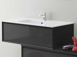 BATHROOM FURNITURE BRERA 90 ANTRACITE SMOOTH AND RESIN WASHBASIN TRENDY