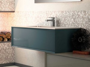 BATHROOM FURNITURE BRERA 90 BLUE SMOOTH AND RESIN WASHBASIN PLANO