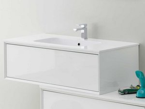 BATHROOM FURNITURE BRERA 90 WHITE SMOOTH AND RESIN WASHBASIN HIDE WHITE MATT