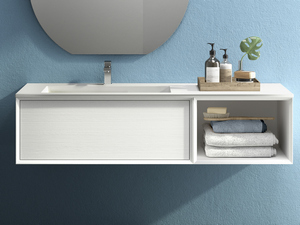 BRERA BATHROOM FURNITURE 140 CM WHITE MILLERIGHE AND LEFT WASHBASIN WHITE MATT