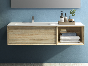 BRERA BATHROOM FURNITURE 140 CM ROVERE LARIX AND LEFT WASHBASIN GLOSSY WHITE