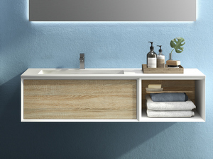 BRERA BATHROOM FURNITURE 140 CM WHITE MILLERIGHE/ROVERE LARIX LEFT WASHBASIN GLOSSY WHITE