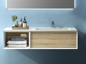 BRERA BATHROOM FURNITURE 140 CM WHITE MILLERIGHE/ROVERE LARIX RIGHT WASHBASIN GLOSSY WHITE