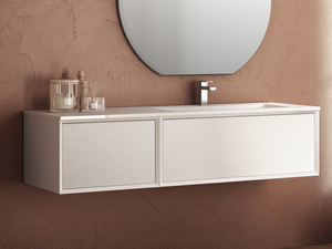 BRERA BATHROOM FURNITURE 140 CM 2 CASSETTI WHITE MILLERIGHE RIGHT WASHBASIN MATT
