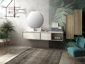 BRERA BATHROOM FURNITURE 190 CM ROVERE LARIX/WHITE MILLERIGHE LEFT WASHBASIN WHITE MATT