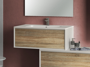 BRERA BATHROOM FURNITURE 90 CM WHITE MILLERIGHE/ROVERE LARIX LAVABO WHITE MATT
