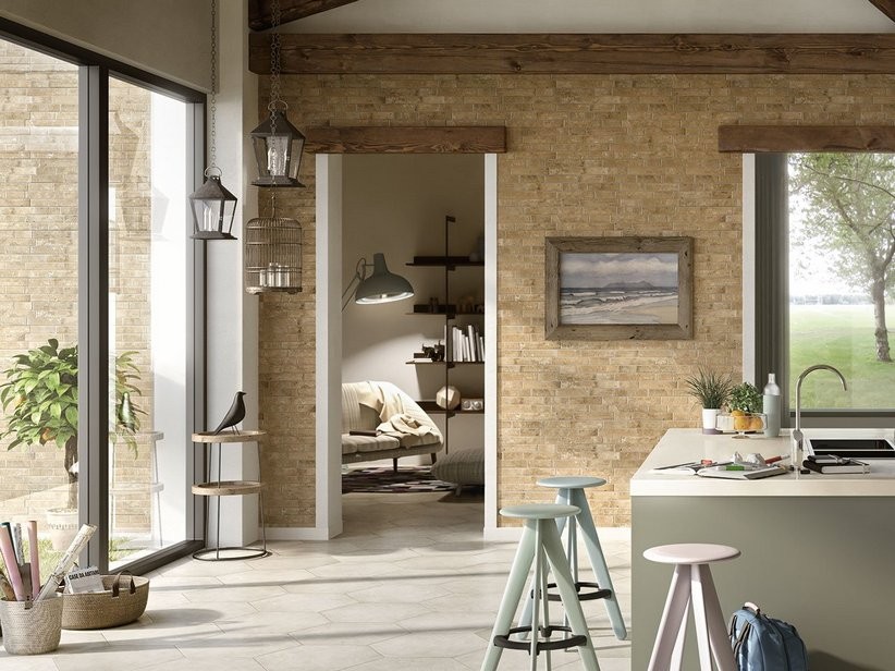 Interlocking Split Stone Effect Wall Tile - Clay