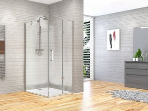 FANTASY2 BE-FOLD SHOWER ENCLOSURE DOOR+FIXED SLIDE 80X100