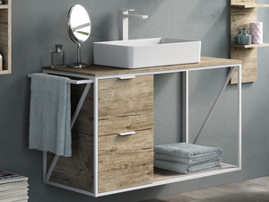 MOBILE BAGNO INDUSTRY 100 BIANCO OPACO/NATURAL OAK COMPOSIZIONE 6B
