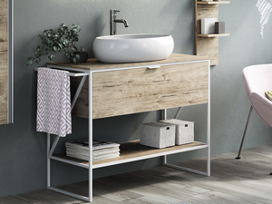 BATHROOM FURNITURE INDUSTRY 100 WHITE MATT/NATURAL OAK SET 2B