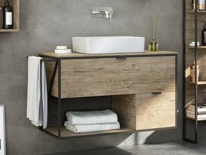 BATHROOM FURNITURE INDUSTRY 100 cm BLACK EMBOSSED/NATURAL OAK SET 03