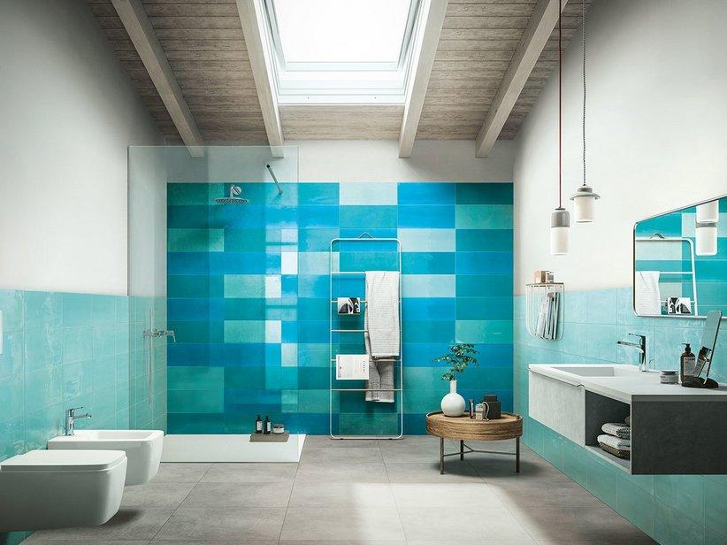 Rivestimento in bicottura supercolorato lucido 20x50 - Piastrelle bagno naxos ...