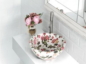 CASTELLON WASHBASIN CERAMIC DECORATIVE FLORAL