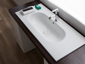 BATHROOM FURNITURE SMART 91 CM NATURAL OAK WITH CERAMIC WASHBASIN