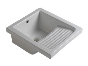 ARNO 45 LAUNDRY WASHBASIN WITH SLOPED RAINER GLOSSY WHITE