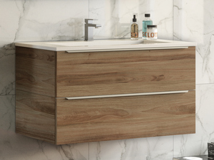 TRENDY BATHROOM FURNITURE 90 CM WALNUT 2 DRAWERS AND RESIN WASHBASIN GLOSSY