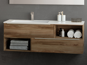 TRENDY BATHROOM FURNITURE 141 CM 2 DRAWERS LEFT RESIN WASHBASIN HIDE WHITE
