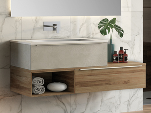 TRENDY BATHROOM FURNITURE 141 CM 2 DRAWERS RESIN WASHBASIN HIDE WHITE MATT
