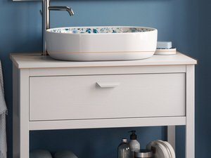 BATHROOM FUNRITURE NEWPORT 91 CM WHITE OAK WITH TOP FOR WASHBASIN