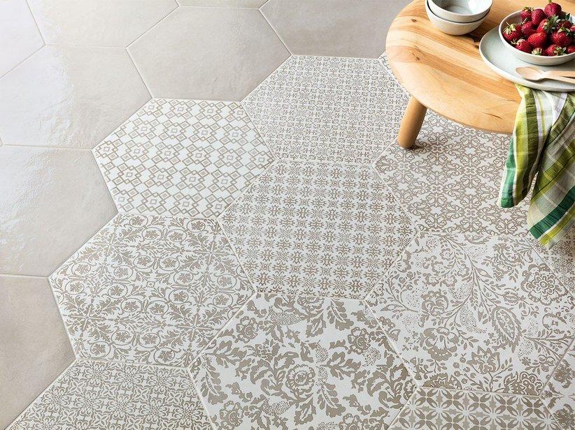 Piastrelle Esagonali Gres : Gres porcellanato esagonale stile maiolica lucido