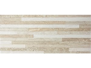 PIASTRELLA RIETI DECOR BEIGE 20X45 EFFETTO MURETTO TRAVERTINO 3D