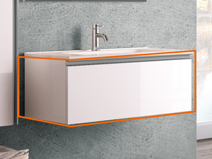 BATHROOM FURNITURE SMART 91 LAPPED GLOSSY WHITE WITH CERAMIC WASHBASIN