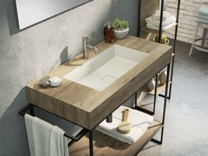 BATHROOM FURNITURE INDUSTRY 100 cm BLACK EMBOSSED/NATURAL OAK SET 10