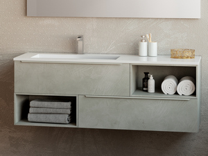TRENDY BATHROOM FURNITURE 141 CM 2 DRAWERS AND LEFT WHITE MATT WASHBASIN