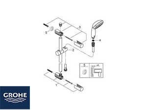 GROHE® VITALIO START SLIDING BAR WITH HAND SHOWER 2 JETS