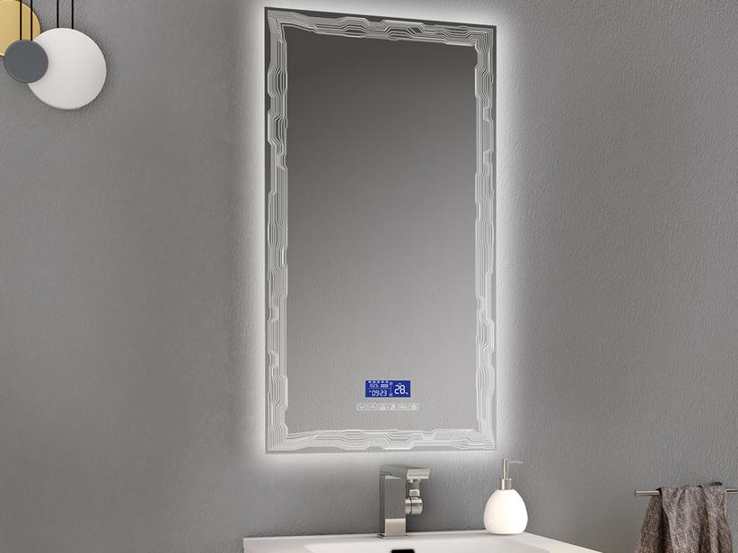 Specchio Luce Bagno.Specchio Bagno Con Luce Led Bh Multimedia 50x90 Con Cornice Iperceramica