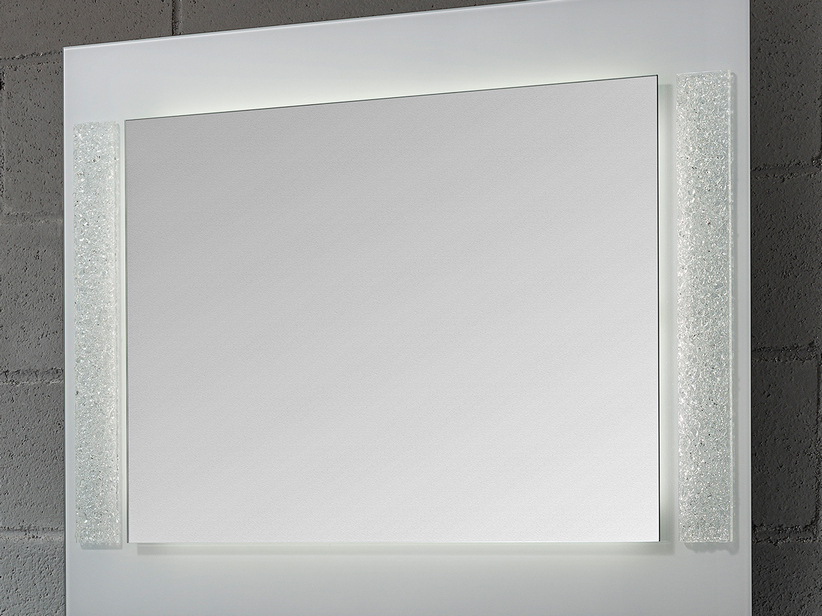 BATHROOM MIRROR LED CAPRICORNO BORDER CRYSTAL LISCIO FINISH WHITE 70Lx90Hx4P