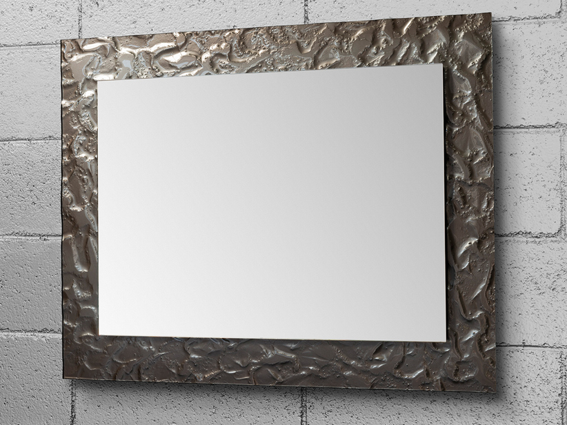 BATHROOM MIRROR LED ARIETE BORDER CRYSTAL FUSO EFFECT ROCCIA FINISH BROWN 70Lx90Hx3P
