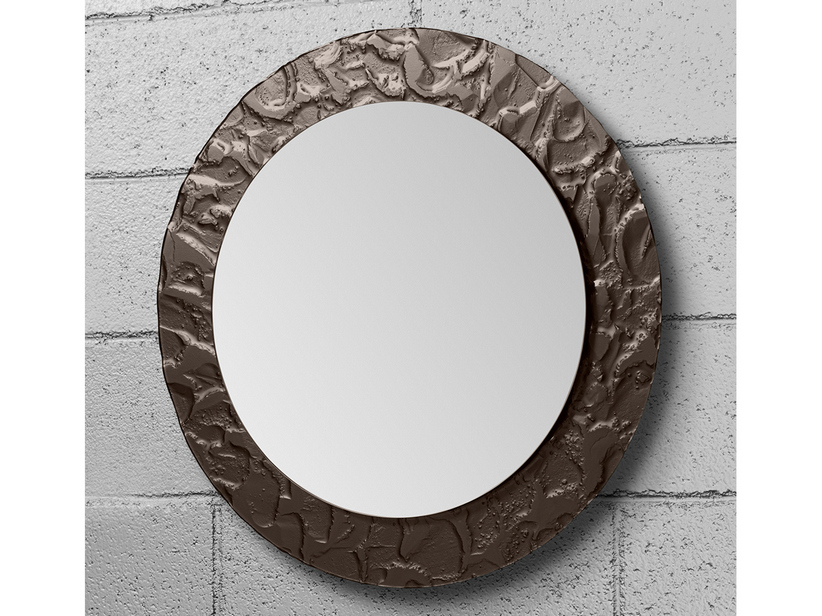BATHROOM MIRROR LED ARIETE BORDER CRYSTAL FUSO EFFECT ROCCIA FINISH BROWN ø70