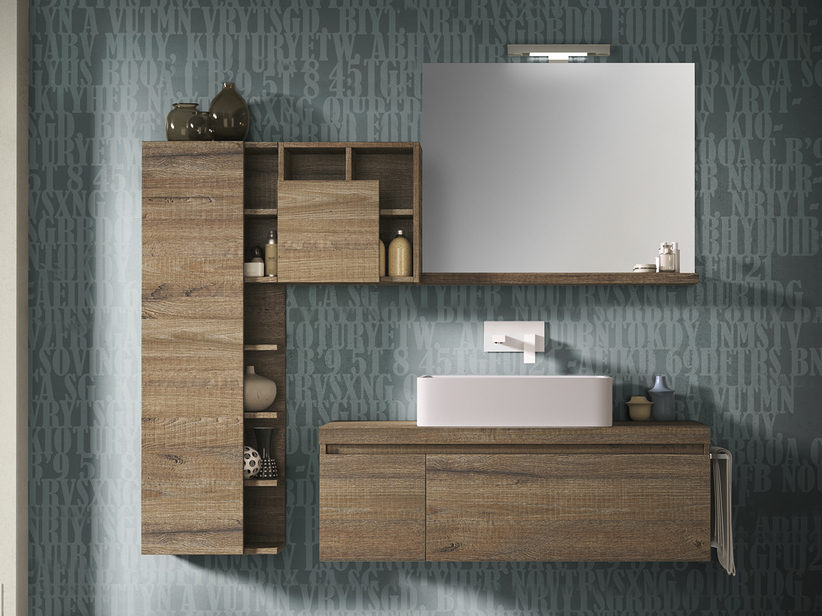 QUBO BATHROOM FURNITURE 120 CM SHERWOOD WITH TOP FOR WASHBASIN