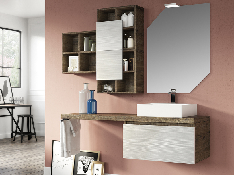 QUBO BATHROOM FURNITURE 140 CM SHERWOOD/WHITE MATRIX WITH WALL-HUNG TOP