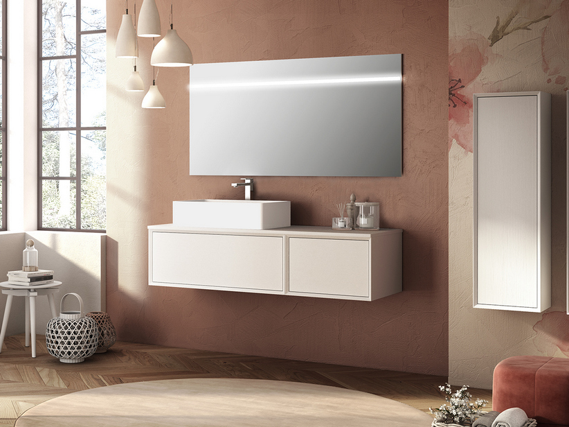BRERA BATHROOM FURNITURE 140 CM 2 CASSETTI WHITE MILLERIGHE AND LEFT TOP