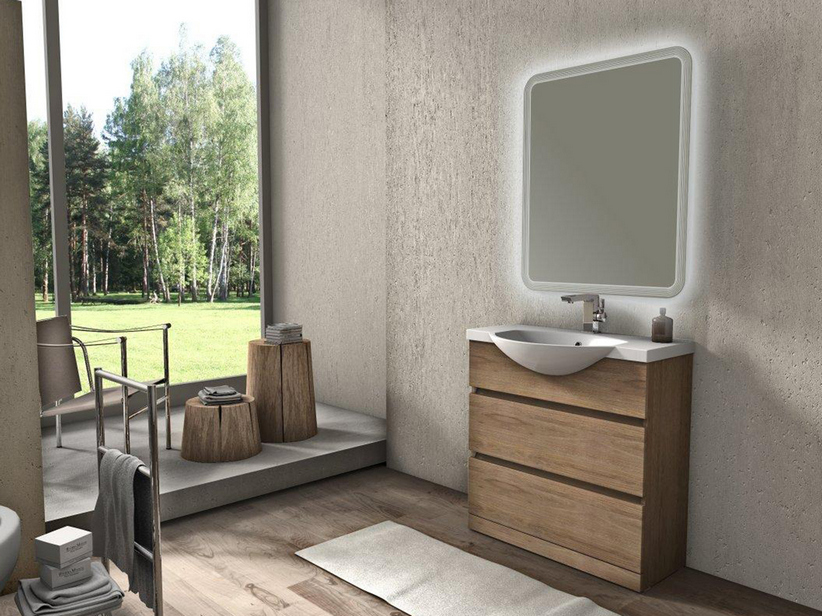 ALYSSA BATHROOM FURNITURE 81 CM A TERRA TOBACCO OAK WITH WHITE WASHBASIN