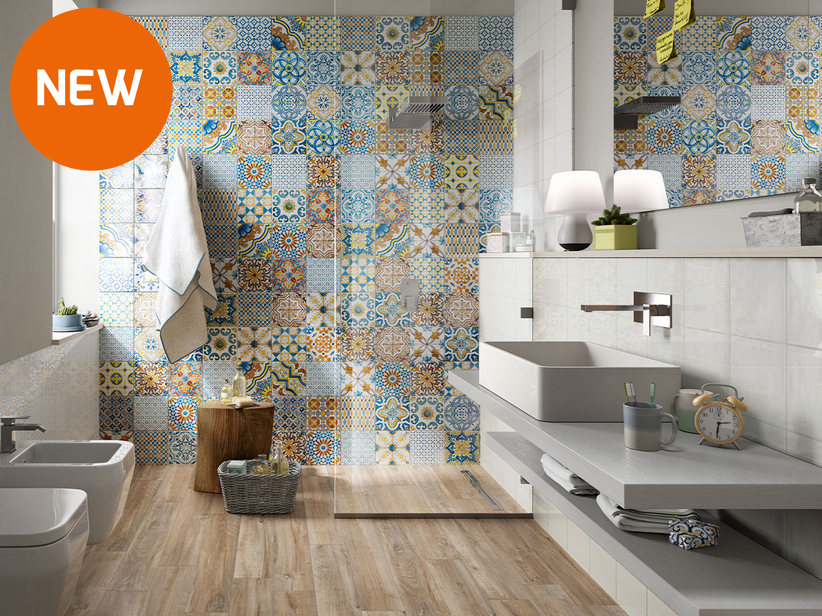 Glossy patchwork effect Double-Fired Wall Tile 20x20 - Azulejos