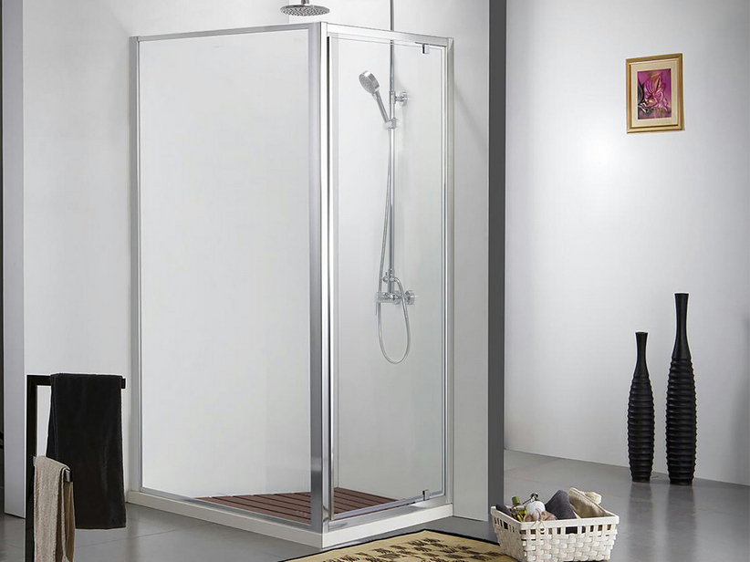 NEPTUM SHOWER BOX 80X120 H190 HINGED DOOR AND FIXED SIDE CRYSTAL 6MM TRANSAPRENT CHROME