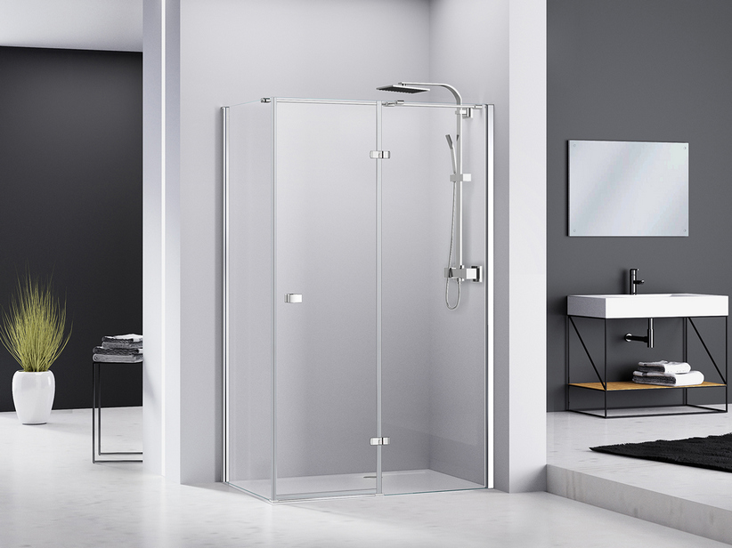 CHAKRA SHOWER BOX100x90 H195 PIVOT HINGED DOOR APERTURA RIGHT LATERAL OPENING WITH FIXED SIDE TRANSPARENT/CHROME
