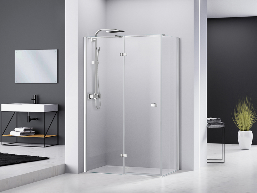 CHAKRA SHOWER BOX100x90 H195 PIVOT HINGED DOOR APERTURA LEFT LATERAL OPENING WITH FIXED SIDE TRANSPARENT/CHROME