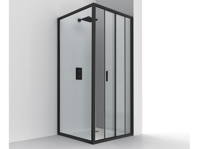 NICE ANGULAR SHOWER BOX 70x120 H195 SLIDING DOOR REVERSIBLE 6MM CRYSTAL TRANSPARENT BLACK MATT