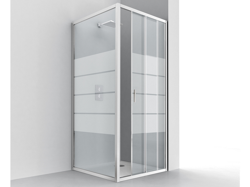 NICE ANGULAR SHOWER BOX 70x100 H195 SLIDING DOOR REVERSIBLE 6MM CRYSTAL TRANSPARENT CHROME SCREEN PRINTING