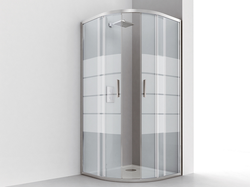 NICE ANGULAR SHOWER BOX 80x80 H195 SLIDING DOOR REVERSIBLE 6MM CRYSTAL TRANSPARENT CHROME SCREEN PRINTING
