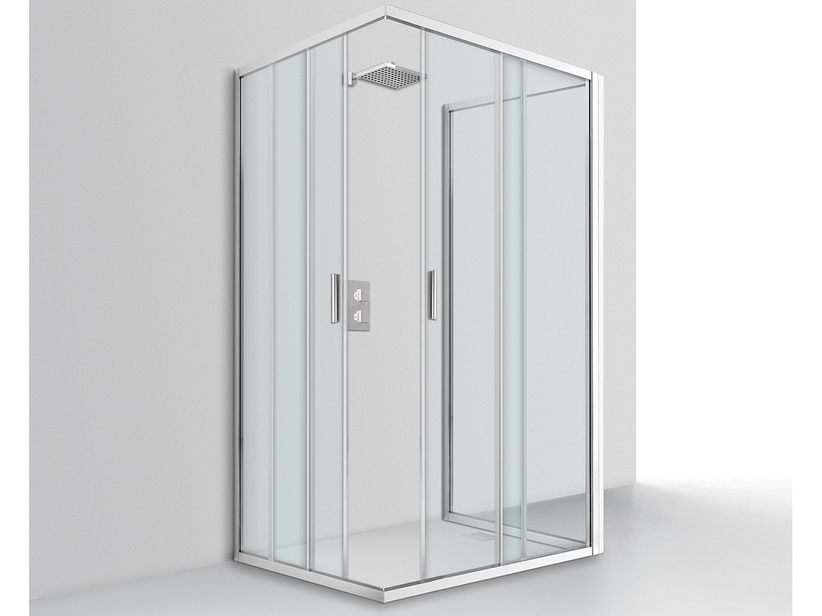 NICE SHOWER BOX 80x120x80 H195 2 SLIDING DOORS AND FIXED SIDE 6MM CRYSTAL TRANSPARENT CHROME